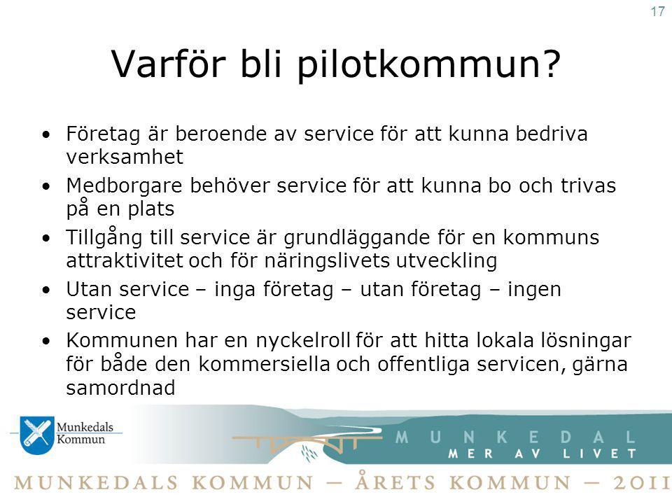 Varför bli pilotkommun? Företag är beroende av service för att kunna bedriva verksamhet Medborgare behöver service för att kunna bo och trivas på en p