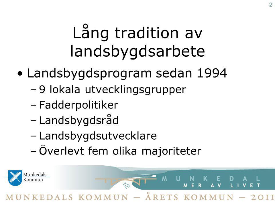 Detta är Munkedals kommun 637 km 2, till ytan tredje störst i Bohuslän 10 223 invånare 2011-12-31 + 42 invånare 2011 Nästan hälften bor på landsbygden Andra hälften i tätorterna Munkedal, Dingle, Hällevadsholm och Hedekas S+C majoritet Arctic Paper, Dingle Naturbruksgymnasiet, ca 1200 företag i kommunen Kommunal service i alla kommundelar 3
