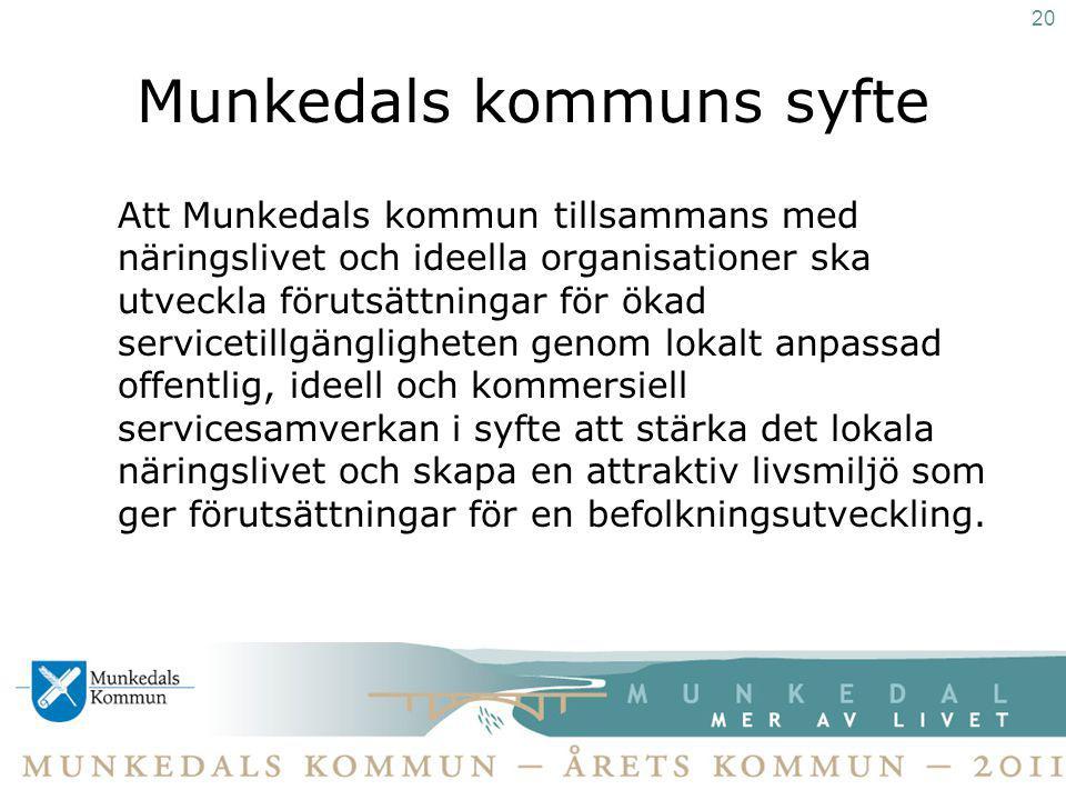Munkedals kommuns syfte Att Munkedals kommun tillsammans med näringslivet och ideella organisationer ska utveckla förutsättningar för ökad servicetill