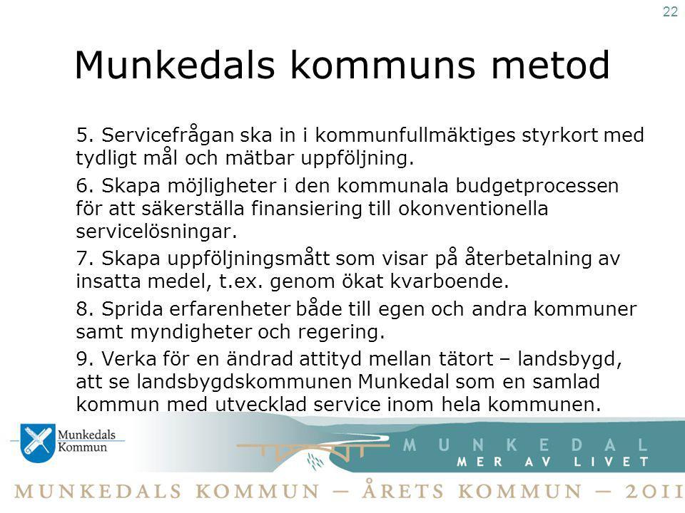 Munkedals kommuns metod 5. Servicefrågan ska in i kommunfullmäktiges styrkort med tydligt mål och mätbar uppföljning. 6. Skapa möjligheter i den kommu