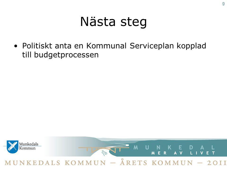 Nästa steg Politiskt anta en Kommunal Serviceplan kopplad till budgetprocessen 9
