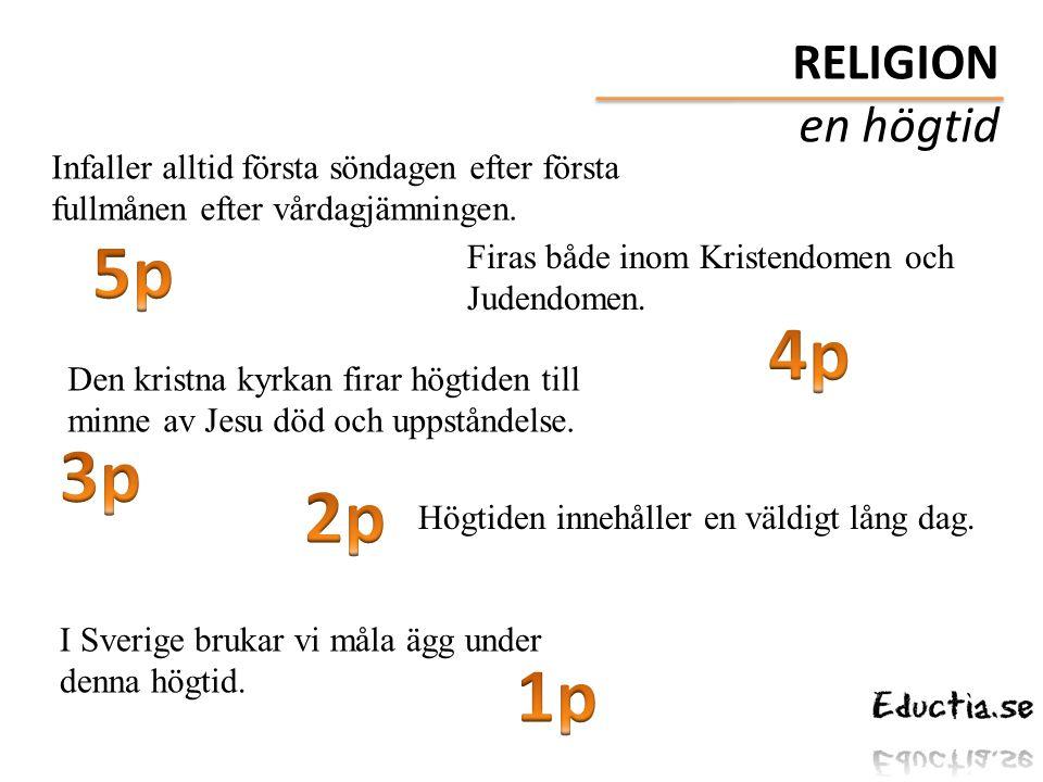 Infaller alltid första söndagen efter första fullmånen efter vårdagjämningen. Firas både inom Kristendomen och Judendomen. Den kristna kyrkan firar hö