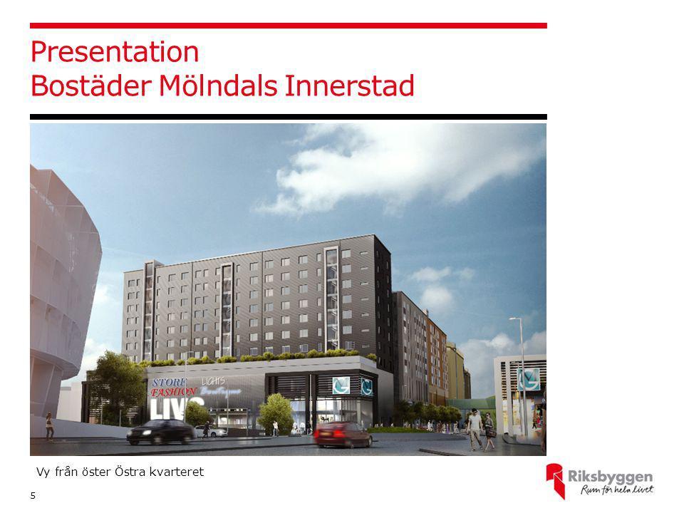 Presentation Bostäder Mölndals Innerstad 5 Vy från öster Östra kvarteret