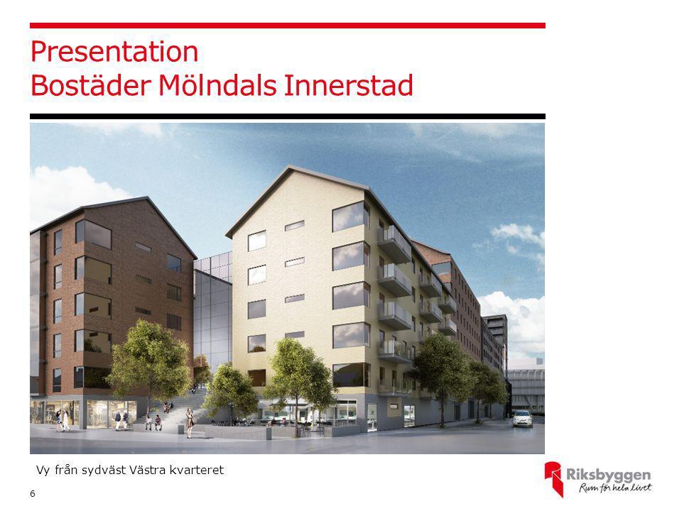 Presentation Bostäder Mölndals Innerstad 6 Vy från sydväst Västra kvarteret