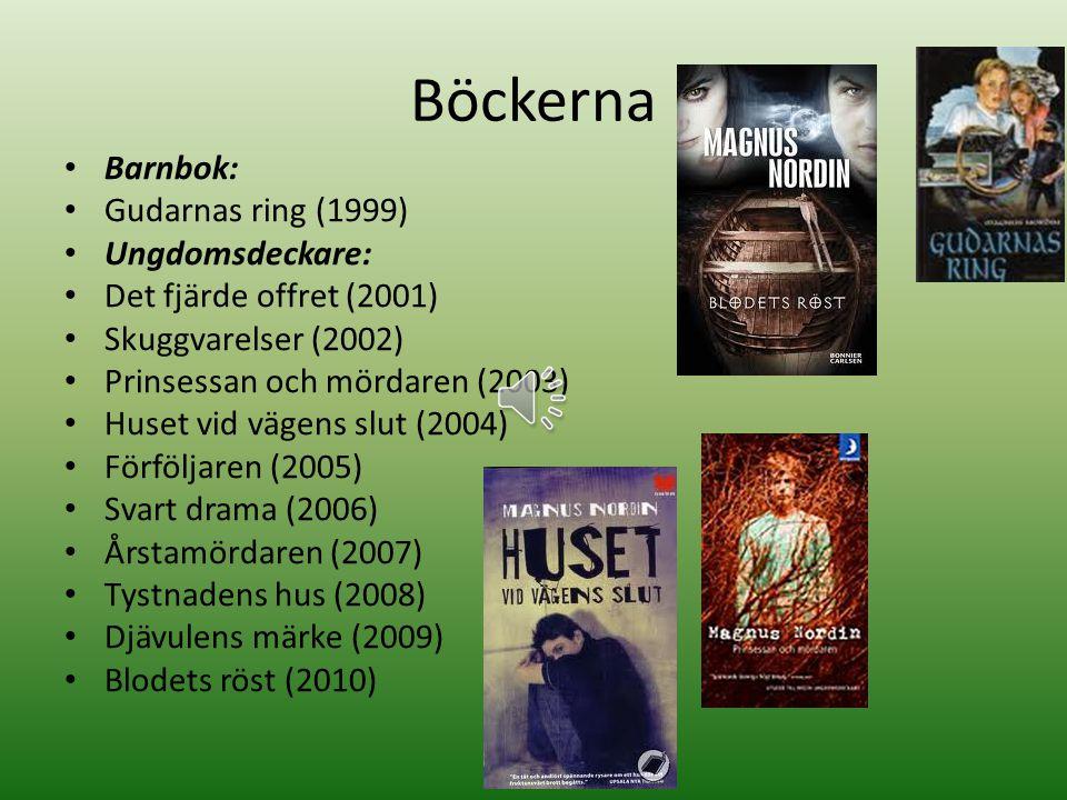 Böckerna Barnbok: Gudarnas ring (1999) Ungdomsdeckare: Det fjärde offret (2001) Skuggvarelser (2002) Prinsessan och mördaren (2003) Huset vid vägens slut (2004) Förföljaren (2005) Svart drama (2006) Årstamördaren (2007) Tystnadens hus (2008) Djävulens märke (2009) Blodets röst (2010)