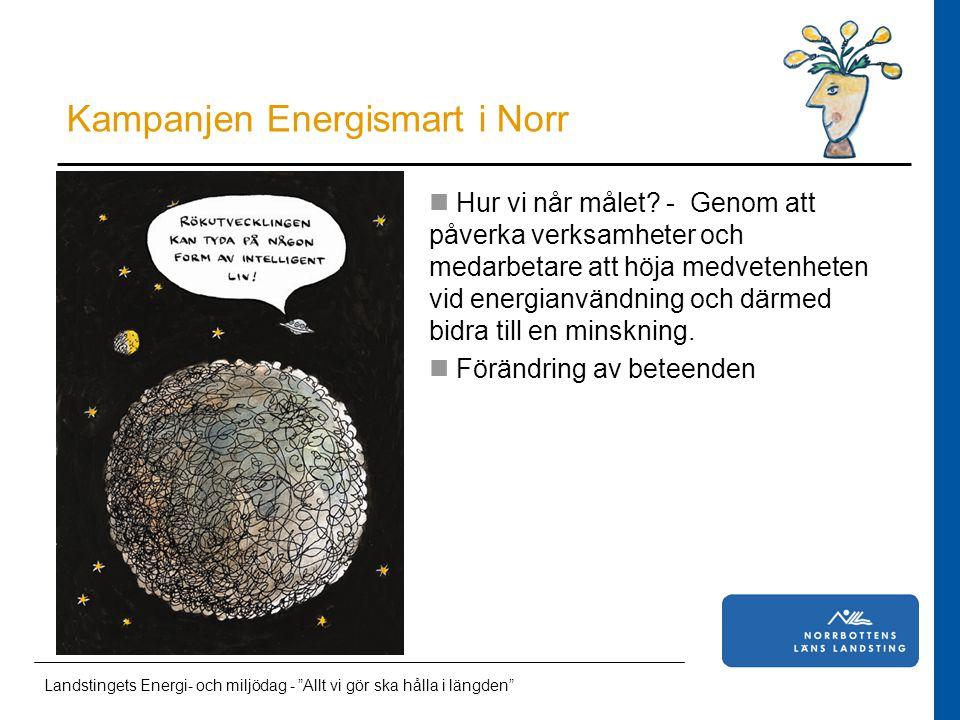 Läkarstudent i Norrbotten Kampanjen Energismart i Norr Landstingets Energi- och miljödag - Allt vi gör ska hålla i längden Hur vi når målet.