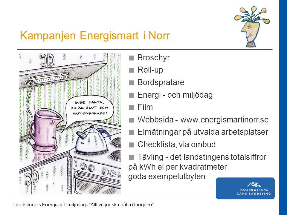 Läkarstudent i Norrbotten Energispartävling mellan norrlandstingen Tävlingen går ut på att åstadkomma den störst procentuell minskning av elförbrukningen per kvadratmeter.