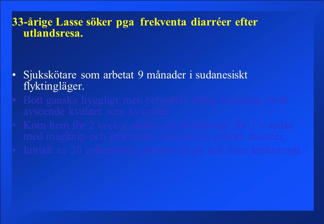 33-årige Lasse söker pga frekventa diarréer efter utlandsresa.