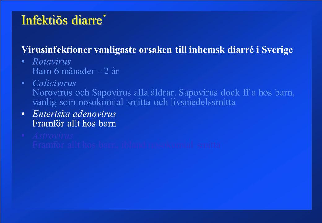 Infektiös diarre´ Virusinfektioner vanligaste orsaken till inhemsk diarré i Sverige Rotavirus Barn 6 månader - 2 år Calicivirus Norovirus och Sapovirus alla åldrar.