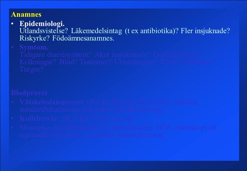 Anamnes Epidemiologi.Utlandsvistelse. Läkemedelsintag (t ex antibiotika).