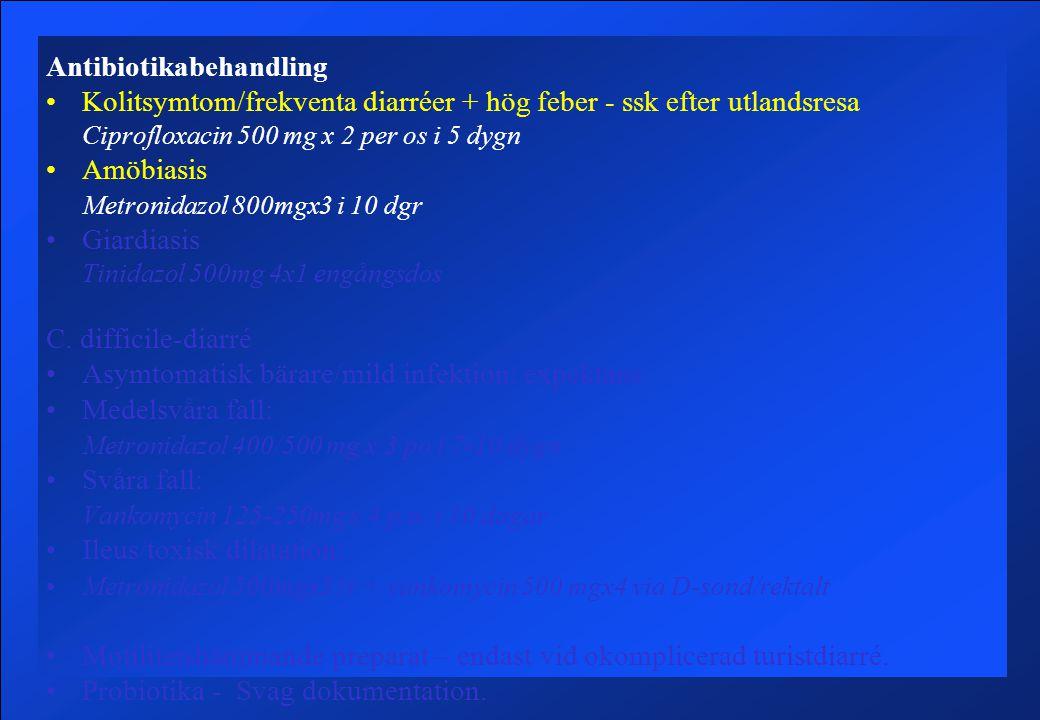 Antibiotikabehandling Kolitsymtom/frekventa diarréer + hög feber - ssk efter utlandsresa Ciprofloxacin 500 mg x 2 per os i 5 dygn Amöbiasis Metronidazol 800mgx3 i 10 dgr Giardiasis Tinidazol 500mg 4x1 engångsdos C.
