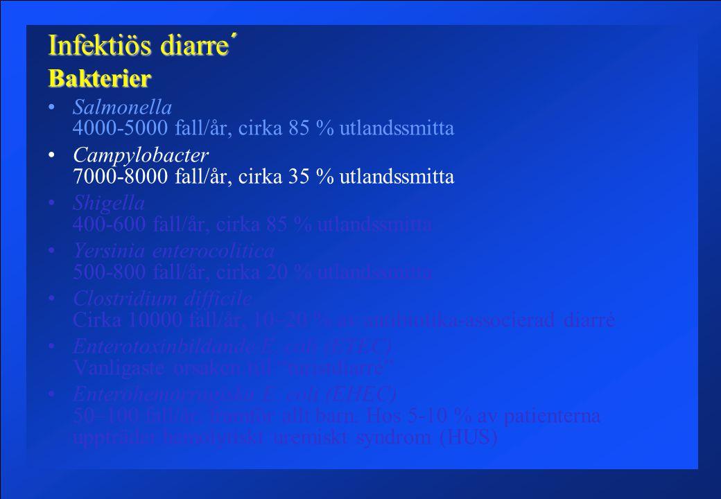 Infektiös diarre´ Asymtomatiskt bärarskap………………..fulminanta diarrétillstånd.