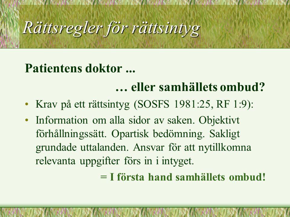 Rättsregler för rättsintyg Patientens doktor... … eller samhällets ombud? Krav på ett rättsintyg (SOSFS 1981:25, RF 1:9): Information om alla sidor av