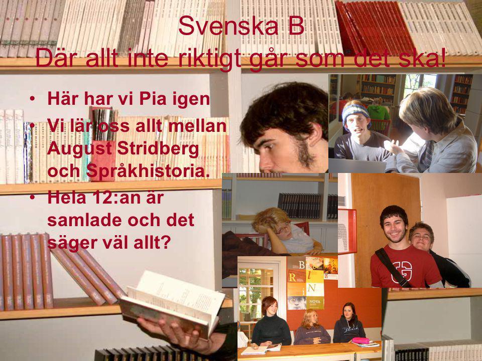 Svenska B Där allt inte riktigt går som det ska! Här har vi Pia igen Vi lär oss allt mellan August Stridberg och Språkhistoria. Hela 12:an är samlade