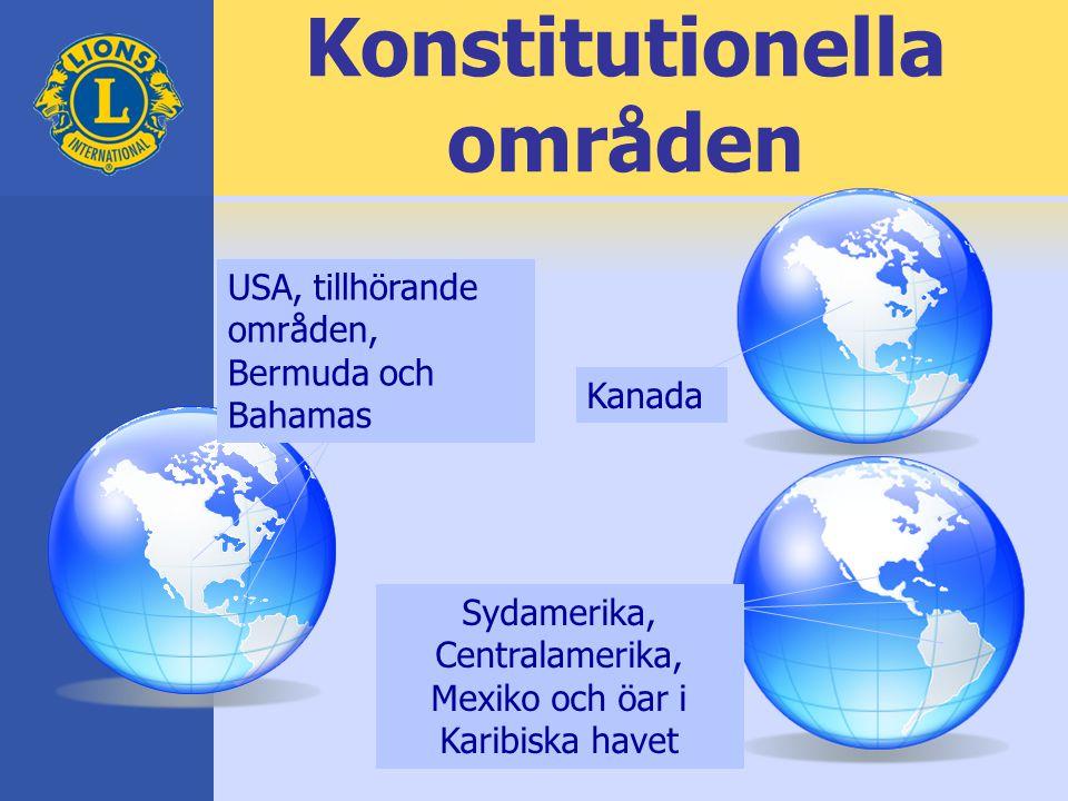 Konstitutionella områden Sydamerika, Centralamerika, Mexiko och öar i Karibiska havet USA, tillhörande områden, Bermuda och Bahamas Kanada