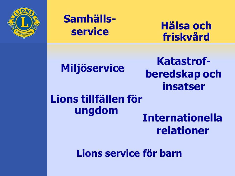 Samhälls- service Katastrof- beredskap och insatser Miljöservice Hälsa och friskvård Internationella relationer Lions tillfällen för ungdom Lions service för barn