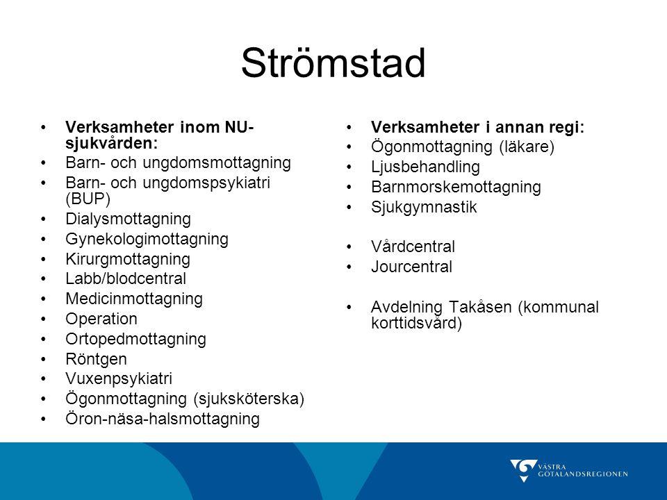 Strömstad Verksamheter inom NU- sjukvården: Barn- och ungdomsmottagning Barn- och ungdomspsykiatri (BUP) Dialysmottagning Gynekologimottagning Kirurgmottagning Labb/blodcentral Medicinmottagning Operation Ortopedmottagning Röntgen Vuxenpsykiatri Ögonmottagning (sjuksköterska) Öron-näsa-halsmottagning Verksamheter i annan regi: Ögonmottagning (läkare) Ljusbehandling Barnmorskemottagning Sjukgymnastik Vårdcentral Jourcentral Avdelning Takåsen (kommunal korttidsvård)