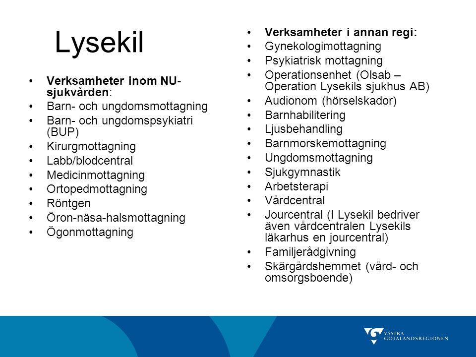 Lysekil Verksamheter inom NU- sjukvården: Barn- och ungdomsmottagning Barn- och ungdomspsykiatri (BUP) Kirurgmottagning Labb/blodcentral Medicinmottagning Ortopedmottagning Röntgen Öron-näsa-halsmottagning Ögonmottagning Verksamheter i annan regi: Gynekologimottagning Psykiatrisk mottagning Operationsenhet (Olsab – Operation Lysekils sjukhus AB) Audionom (hörselskador) Barnhabilitering Ljusbehandling Barnmorskemottagning Ungdomsmottagning Sjukgymnastik Arbetsterapi Vårdcentral Jourcentral (I Lysekil bedriver även vårdcentralen Lysekils läkarhus en jourcentral) Familjerådgivning Skärgårdshemmet (vård- och omsorgsboende)