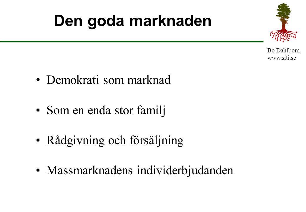 Bo Dahlbom www.siti.se Den goda marknaden Demokrati som marknad Som en enda stor familj Rådgivning och försäljning Massmarknadens individerbjudanden