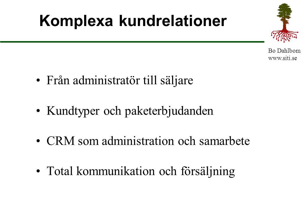 Bo Dahlbom www.siti.se Komplexa kundrelationer Från administratör till säljare Kundtyper och paketerbjudanden CRM som administration och samarbete Tot