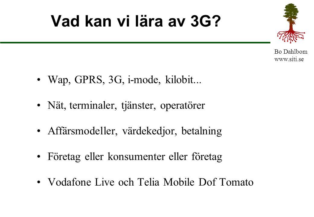 Bo Dahlbom www.siti.se Vad kan vi lära av 3G? Wap, GPRS, 3G, i-mode, kilobit... Nät, terminaler, tjänster, operatörer Affärsmodeller, värdekedjor, bet