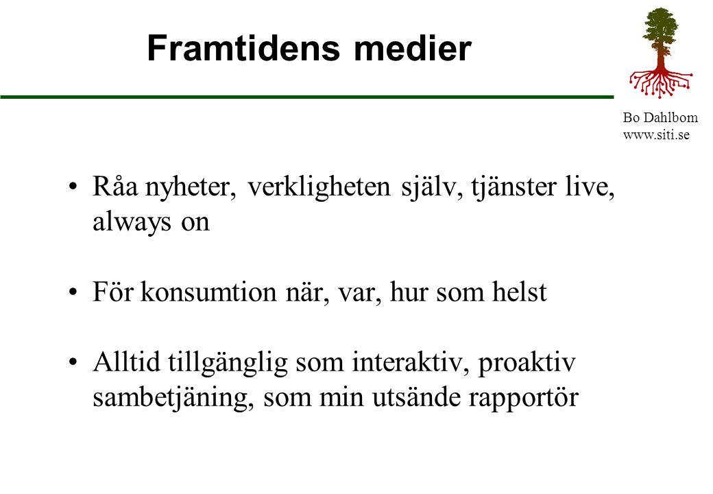 Bo Dahlbom www.siti.se Framtidens medier Råa nyheter, verkligheten själv, tjänster live, always on För konsumtion när, var, hur som helst Alltid tillg