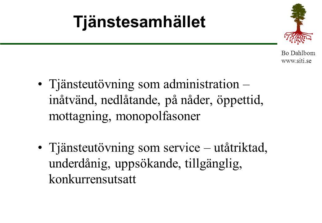Bo Dahlbom www.siti.se Tjänstesamhället Tjänsteutövning som administration – inåtvänd, nedlåtande, på nåder, öppettid, mottagning, monopolfasoner Tjän