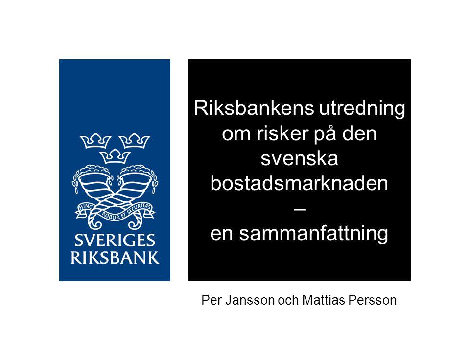 Om utredningen Startade i februari 2010 – beställd av direktionen (tjänstemannaprodukt) Består av 12 fristående rapporter Presenterades för Riksbankens direktion i januari 2011 Föreligger nu i redigerad och tryckt form