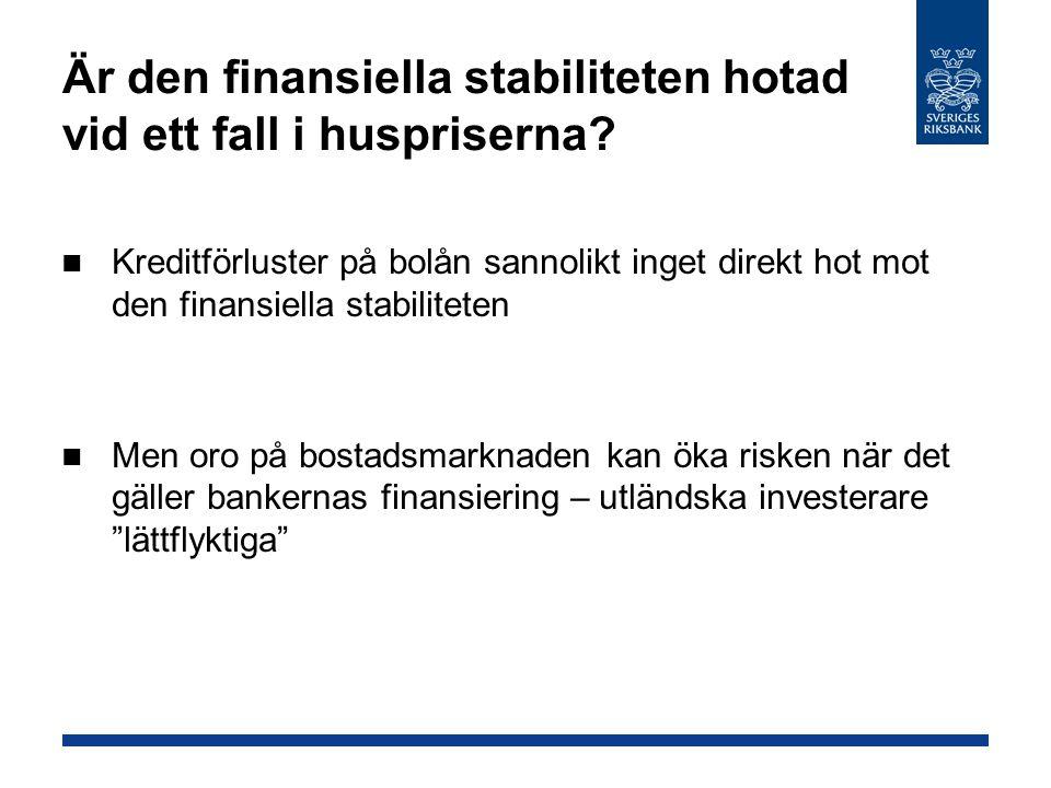 Är den finansiella stabiliteten hotad vid ett fall i huspriserna? Kreditförluster på bolån sannolikt inget direkt hot mot den finansiella stabiliteten