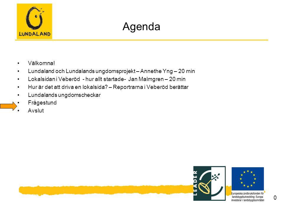 10 Agenda Välkomna! Lundaland och Lundalands ungdomsprojekt – Annethe Yng – 20 min Lokalsidan i Veberöd - hur allt startade- Jan Malmgren – 20 min Hur
