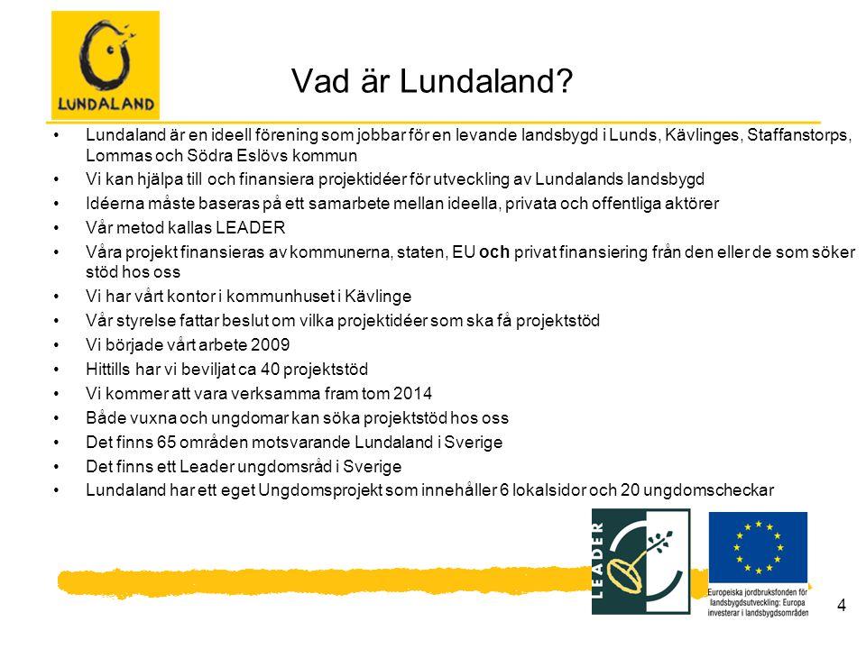 4 Vad är Lundaland? Lundaland är en ideell förening som jobbar för en levande landsbygd i Lunds, Kävlinges, Staffanstorps, Lommas och Södra Eslövs kom