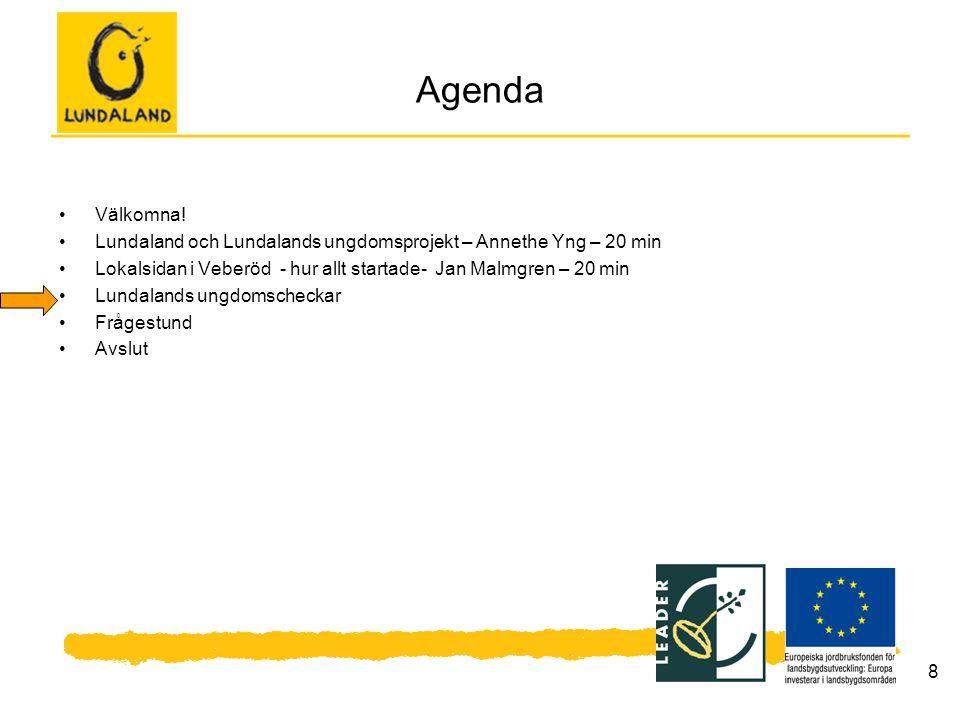 8 Agenda Välkomna! Lundaland och Lundalands ungdomsprojekt – Annethe Yng – 20 min Lokalsidan i Veberöd - hur allt startade- Jan Malmgren – 20 min Lund
