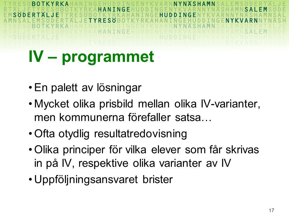 17 IV – programmet En palett av lösningar Mycket olika prisbild mellan olika IV-varianter, men kommunerna förefaller satsa… Ofta otydlig resultatredov