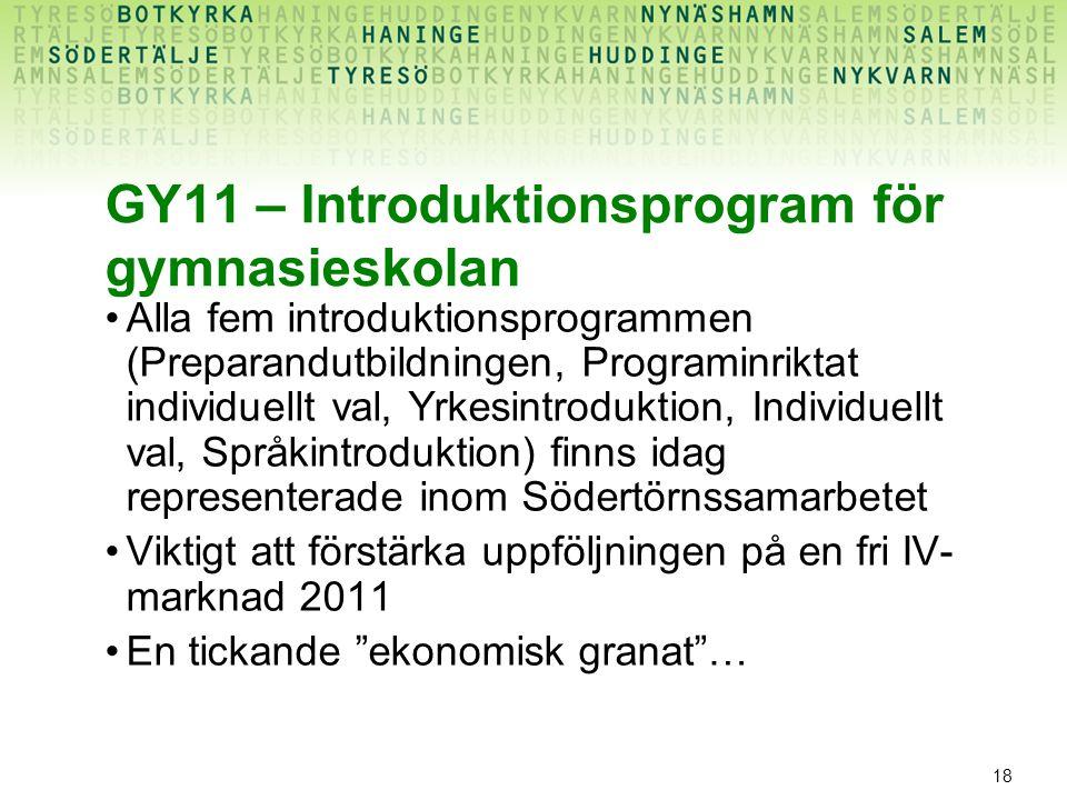 18 GY11 – Introduktionsprogram för gymnasieskolan Alla fem introduktionsprogrammen (Preparandutbildningen, Programinriktat individuellt val, Yrkesintr