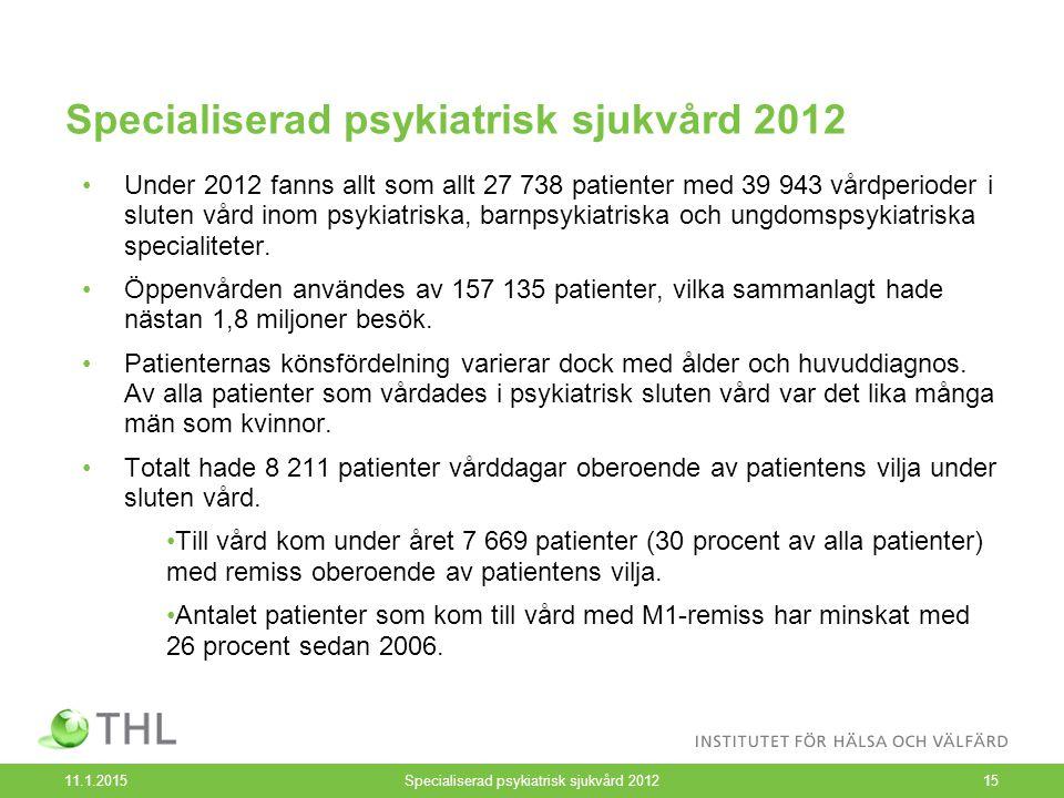 Specialiserad psykiatrisk sjukvård 2012 11.1.2015Specialiserad psykiatrisk sjukvård 201215 Under 2012 fanns allt som allt 27 738 patienter med 39 943 vårdperioder i sluten vård inom psykiatriska, barnpsykiatriska och ungdomspsykiatriska specialiteter.
