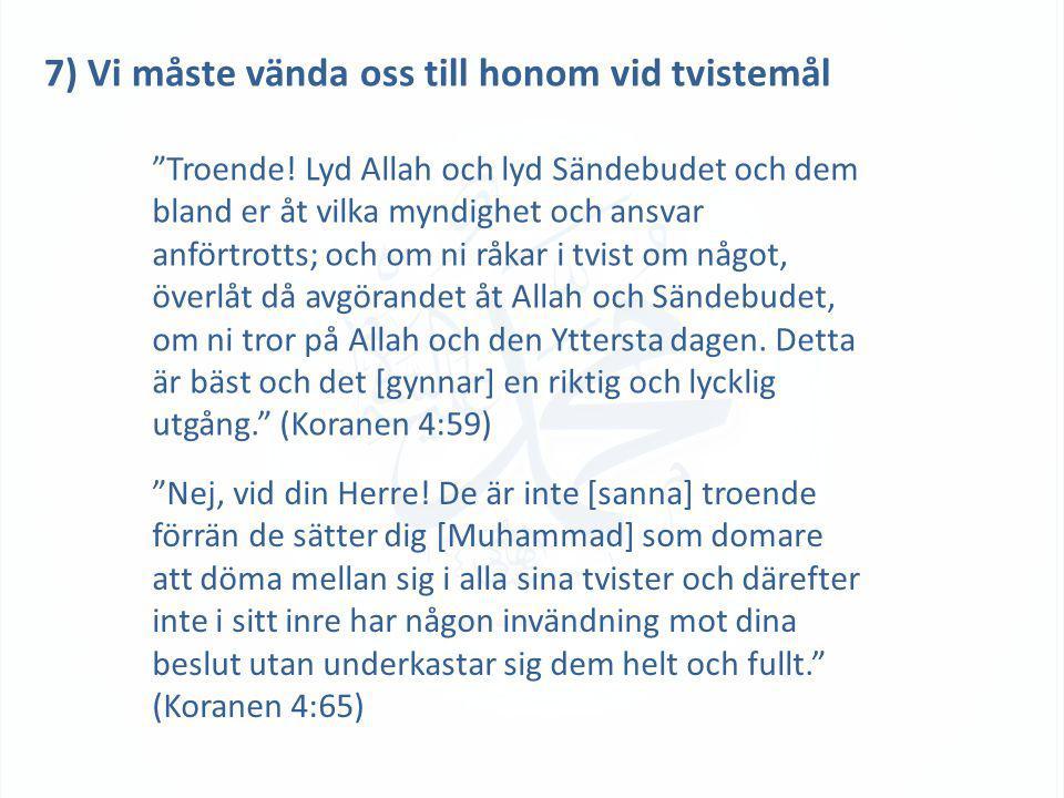 7) Vi måste vända oss till honom vid tvistemål Troende.