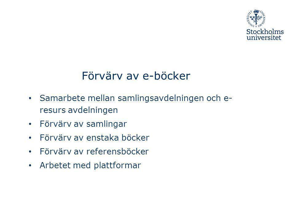 Förvärv av e-böcker Samarbete mellan samlingsavdelningen och e- resurs avdelningen Förvärv av samlingar Förvärv av enstaka böcker Förvärv av referensb