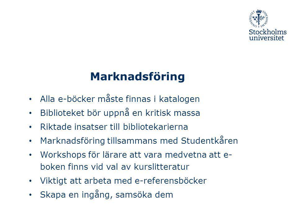 Marknadsföring Alla e-böcker måste finnas i katalogen Biblioteket bör uppnå en kritisk massa Riktade insatser till bibliotekarierna Marknadsföring til