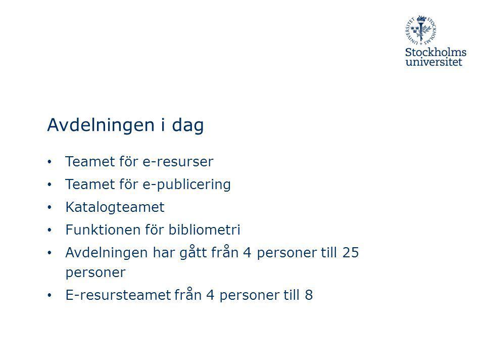 Avdelningen i dag Teamet för e-resurser Teamet för e-publicering Katalogteamet Funktionen för bibliometri Avdelningen har gått från 4 personer till 25