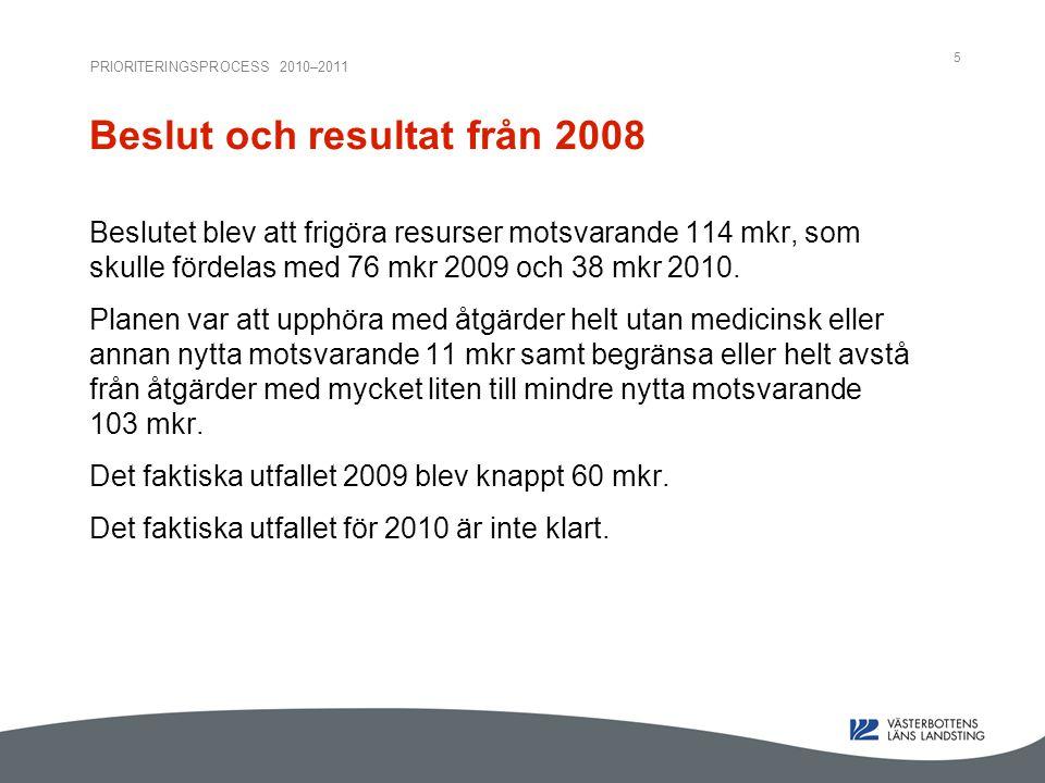 PRIORITERINGSPROCESS 2010–2011 5 Beslut och resultat från 2008 Beslutet blev att frigöra resurser motsvarande 114 mkr, som skulle fördelas med 76 mkr 2009 och 38 mkr 2010.