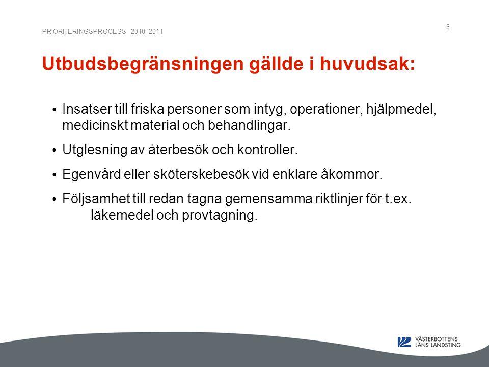 PRIORITERINGSPROCESS 2010–2011 6 Utbudsbegränsningen gällde i huvudsak: Insatser till friska personer som intyg, operationer, hjälpmedel, medicinskt material och behandlingar.