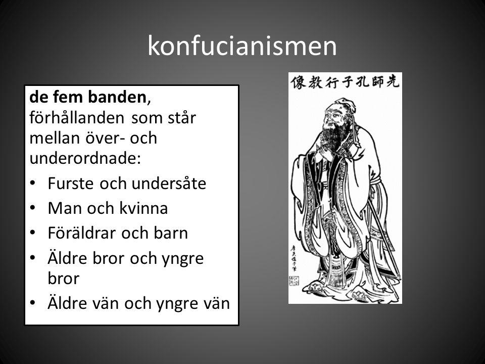 konfucianismen de fem banden, förhållanden som står mellan över- och underordnade: Furste och undersåte Man och kvinna Föräldrar och barn Äldre bror och yngre bror Äldre vän och yngre vän