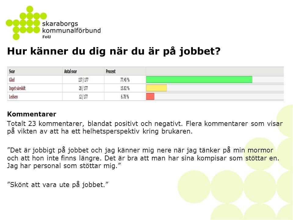 FoU Hur känner du dig när du är på jobbet? Kommentarer Totalt 23 kommentarer, blandat positivt och negativt. Flera kommentarer som visar på vikten av