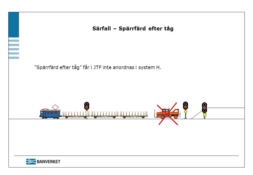 """Särfall – Spärrfärd efter tåg """"Spärrfärd efter tåg"""" får i JTF inte anordnas i system H."""