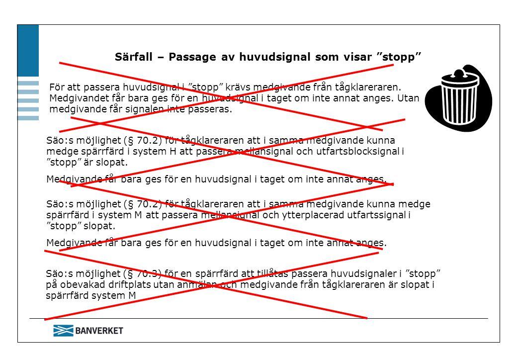 """Särfall – Passage av huvudsignal som visar """"stopp"""" Säo:s möjlighet (§ 70.2) för tågklareraren att i samma medgivande kunna medge spärrfärd i system H"""