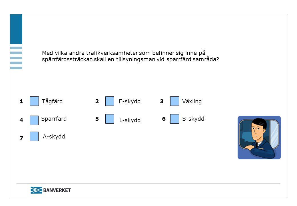 Med vilka andra trafikverksamheter som befinner sig inne på spärrfärdssträckan skall en tillsyningsman vid spärrfärd samråda? Tågfärd Spärrfärd E-skyd