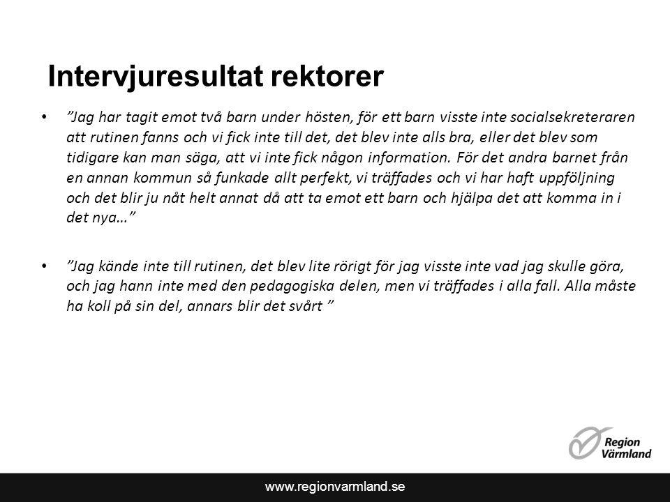 """www.regionvarmland.se Intervjuresultat rektorer """"Jag har tagit emot två barn under hösten, för ett barn visste inte socialsekreteraren att rutinen fan"""
