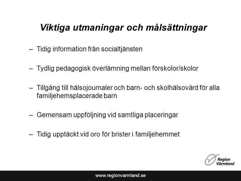 www.regionvarmland.se Viktiga utmaningar och målsättningar –Tidig information från socialtjänsten –Tydlig pedagogisk överlämning mellan förskolor/skol