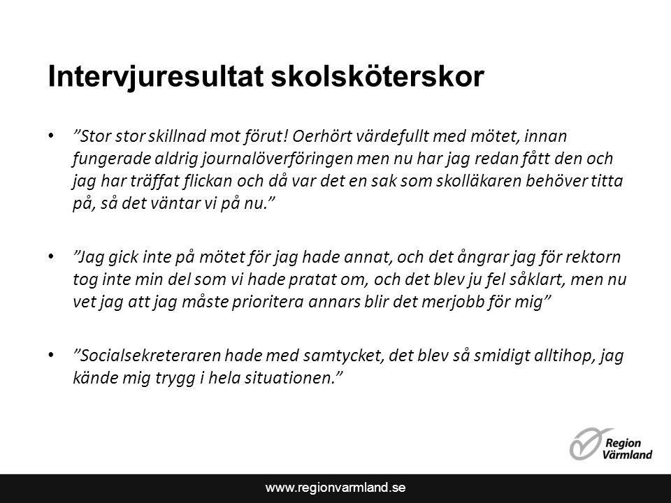 """www.regionvarmland.se Intervjuresultat skolsköterskor """"Stor stor skillnad mot förut! Oerhört värdefullt med mötet, innan fungerade aldrig journalöverf"""