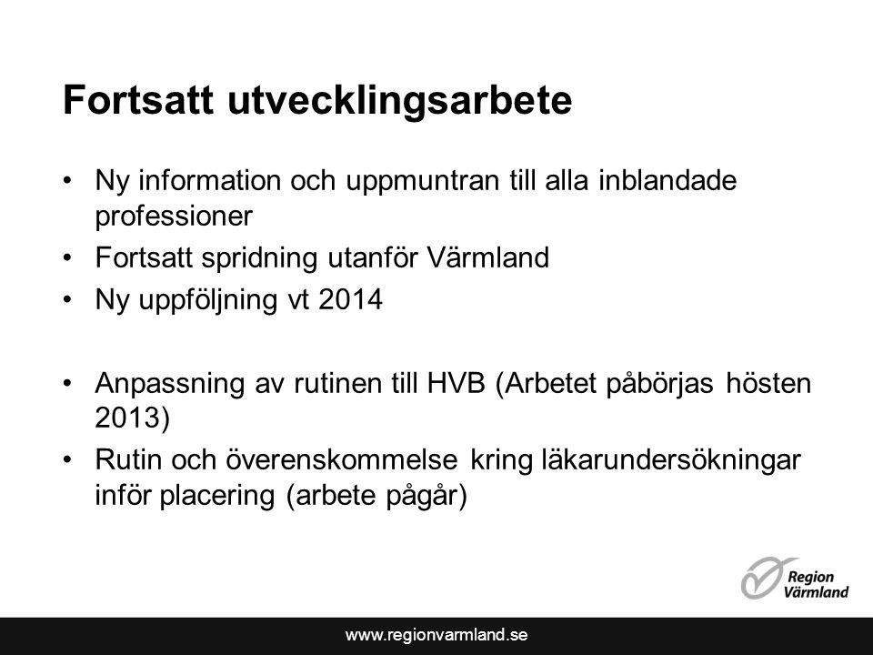 www.regionvarmland.se Fortsatt utvecklingsarbete Ny information och uppmuntran till alla inblandade professioner Fortsatt spridning utanför Värmland N